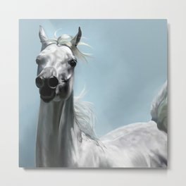 Arabian White Horse Painting Metal Print