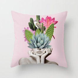 Cactus Lady Throw Pillow