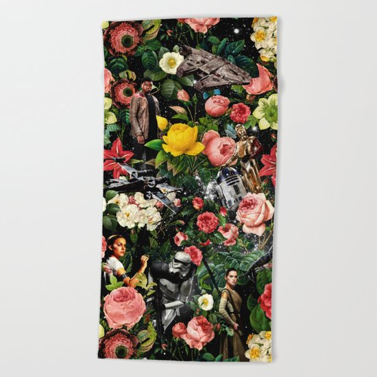 1977-2016 Starwars and Floral Pattern  Beach Towel