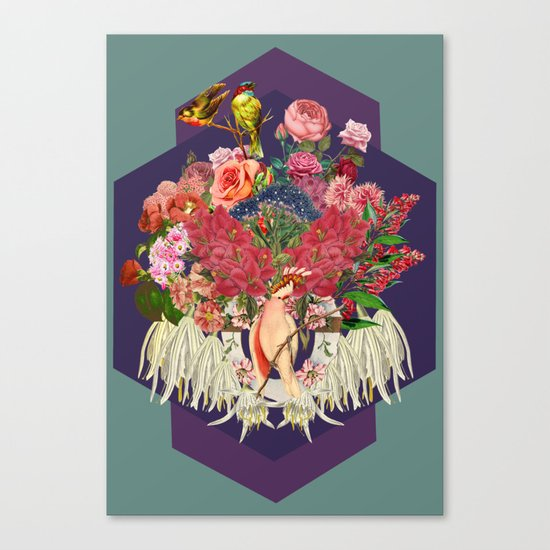 Floral and Parrot Canvas Print