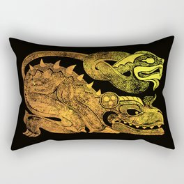 Golden two-headed dragon Rectangular Pillow