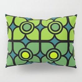 Bold Retro Green Flowers Pillow Sham