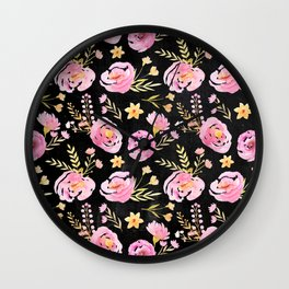 Delicate Poppy Pattern On Chalkboard Wall Clock