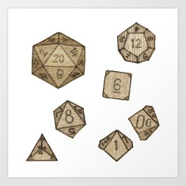 Wooden Dice Art Print