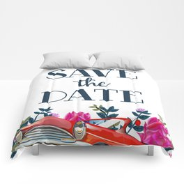 Save The Date vintage car. Comforters