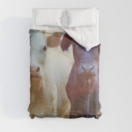Cow's couple watercolor painting  Comforters
