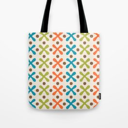 Mid Century Modern X and Dot Pattern Orange Turquoise and Chartreuse Tote Bag