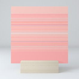 Coral Stripe with Slight Teal Accent Mini Art Print