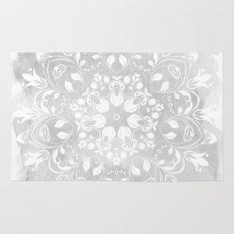 white on gray mandala design Rug