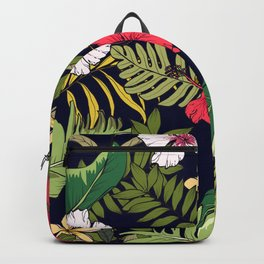 Tropical Island Oasis Floral Pattern Backpack