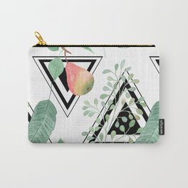 Pears, leaves geometric black and white background. Carry-All Pouch
