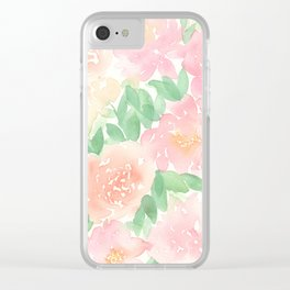 Pink Peonies and Roses Clear iPhone Case
