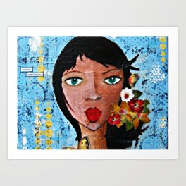"""""""Embrace Imperfection"""" Motivational Art. Beautiful girl with flowers in her hair. Art Print"""