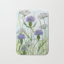 Thistle White Lace Watercolor Bath Mat