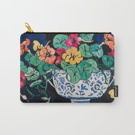 Nasturtium Bouquet in Chinoiserie Bowl on Dark Blue Floral Still Life Painting Carry-All Pouch