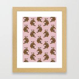 Blush Tiger Pattern, minimalist design Framed Art Print
