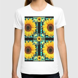 WESTERN STYLE  BLACK COLOR YELLOW SUNFLOWERS ART T-shirt