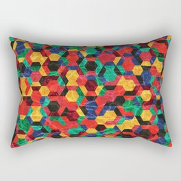 Colorful Half Hexagons Pattern #03 Rectangular Pillow