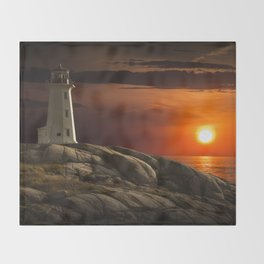 Lighthouse at Sunset in the Peggy's Cove Throw Blanket