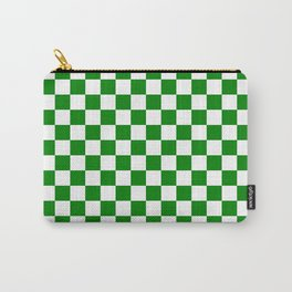 Small Checkered - White and Green Carry-All Pouch