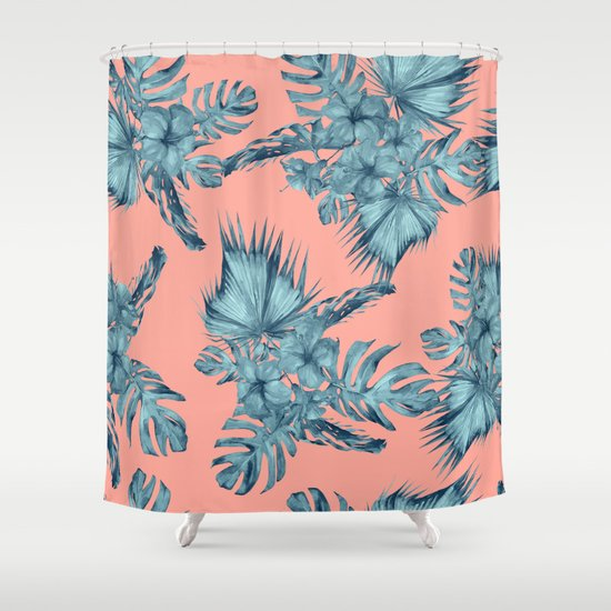 Dreaming Of Hawaii Teal Blue On Coral Pink Shower Curtain