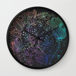 Floral Charcoal Wall Clock