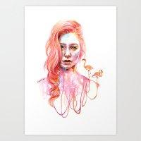 flamingo Art Prints featuring Flamingo by Veronika Weroni Vajdová