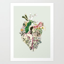 Vintage Botanical Heart On Green Art Print