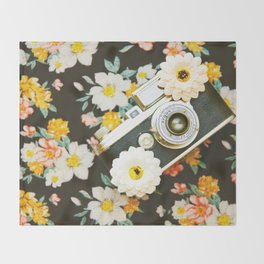 Floral Vintage Camera (Color) Throw Blanket