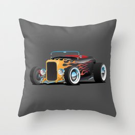 Custom Hot Rod Roadster Car with Flames, Chrome Rims and White Wall Tires Throw Pillow