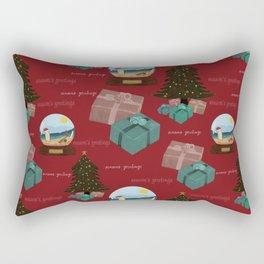 Aussie Christmas Red Pattern Rectangular Pillow
