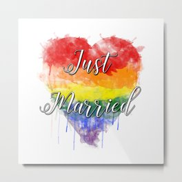 Just Married Gay Pride Metal Print