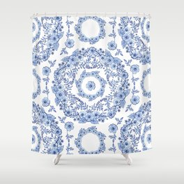 Blue Rhapsody on white Shower Curtain