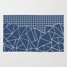 Ab Outline Grid Navy Rug