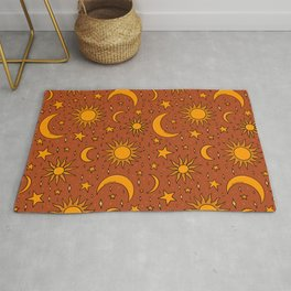 Vintage Sun and Star Print in Rust Rug
