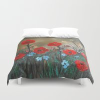 sia Duvet Covers featuring Impasto Poppy Love - Talins Poppy Love by RokinRonda