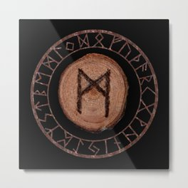 Mannaz - Wooden Celtic Rune of self, individuals, universe, family, loved ones, friends, devoted Metal Print