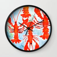 lobster Wall Clocks featuring Lobster by Julie Lehite