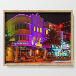 Marlin Hotel, South Beach Miami Florida Landscape Painting by Jeanpaul Ferro Serving Tray