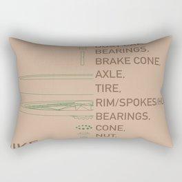 Bike Wheel Parts Diagram in Tan Rectangular Pillow