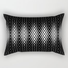 Geometric Black and White Diamond Scales Pattern Rectangular Pillow