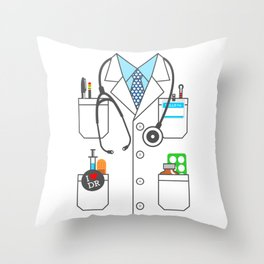 Doctor Costume Lab Coat Cosplay Throw Pillow