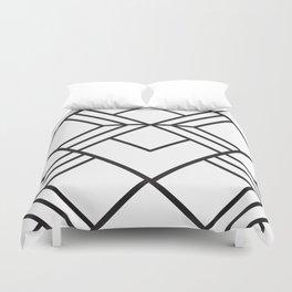 Geometrical modern black abstract diamond stripes pattern Duvet Cover