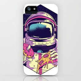 Astronaut Eating Donut and Pizza iPhone Case