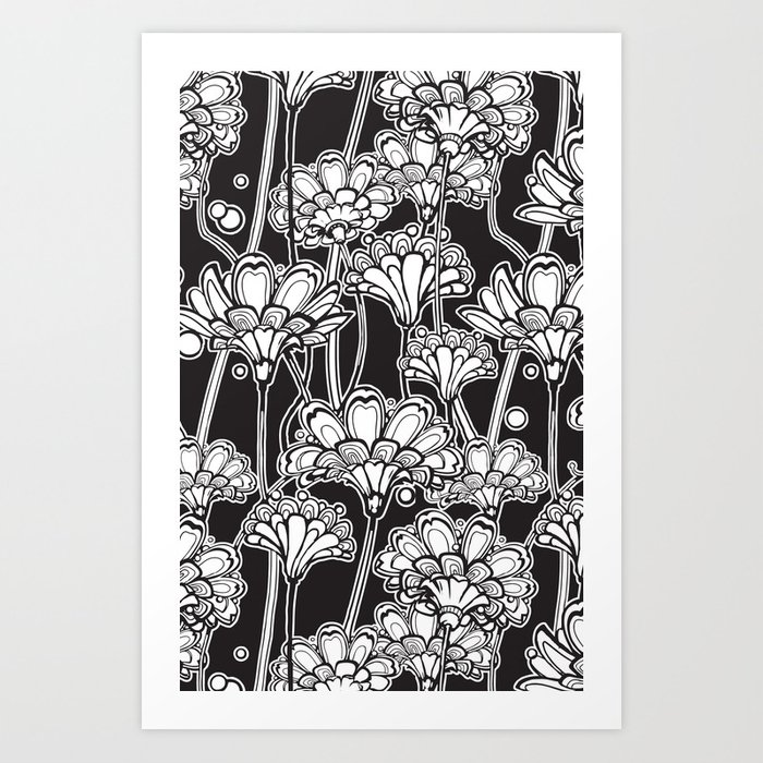 black flowers Art Print