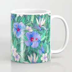 White Bird of Paradise & Blue Hibiscus Tropical Garden Coffee Mug