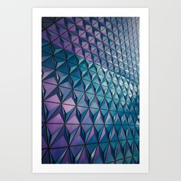 Neon Blue Purple Geometric Pattern Art Print