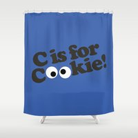 cookie monster Shower Curtains featuring C is for Cookie by Laundry Factory