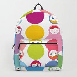 dolls matryoshka on white background Backpack