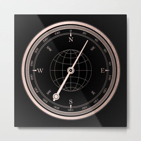 Rose Gold Compass on Black Metal Print